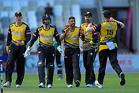 Jeetan Patel celebrates taking a wicket in his final Firebirds over before moving overseas, during the Dream11 Super Smash T20 cricket match between the Wellington Firebirds and Central Stags at Basin Reserve in Wellington, New Zealand on Thursday, 18 December 2019. Photo: Dave Lintott / lintottphoto.co.nz