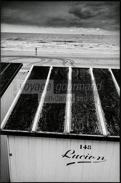 Europe , Belgique , Flandre , Flandre Occidentale , Westende: Détail des cabanes de plage  // Europe, Belgium, West Flanders, Westende: Detail of beach huts
