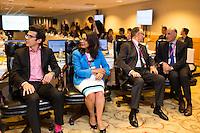 RIO DE JANEIRO, RJ, 29.09.2014 - RIO 2016 - VISITA COMISSÃO DE COORDENAÇÃO DO COI - Christophe Dubi, Nawal El Moutawakel, Carlos Arthur Nuzman e Sidney Levy, na sessão plenária de abertura da visita da Comissão de Coordenação do COI para os Jogos Olímpicos Rio 2016, realizada em hotel em Copacabana, zona sul da cidade, nesta segunda-feira, 29. (Foto: Gustavo Serebrenick / Brazil Photo Press).