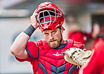 24 February 2019: Washington Nationals catcher Taylor Gushue returns to the dugout during a Spring Training game against the St. Louis Cardinals at Roger Dean Stadium in Jupiter, Florida. The Nationals defeated the Cardinals 12-2 in Grapefruit League play. Mandatory Credit: Ed Wolfstein Photo *** RAW (NEF) Image File Available ***