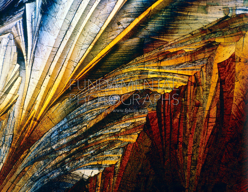 SULFUR CRYSTALS<br /> Liquefied &amp; Recrystallized, Polarized Light<br /> 100x mag.