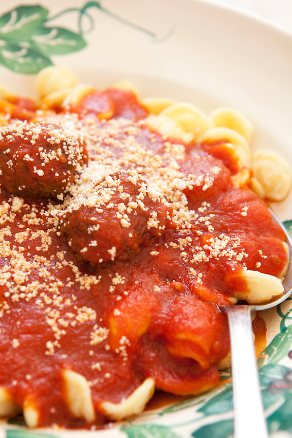 Veal rollatini with pasta in a rich tomato sauce, Puglia, Italy