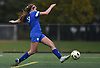 Ava Pascarella #9 of Portledge shoots on goal during the PSAA varsity girls soccer championship against The Stony Brook School at Cantiague Park in Hicksville on Friday, Oct. 26, 2018. She went on to score twice in Portledge's 3-0 win.
