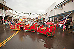 Ione Business and Community Association hosts the annual Main Street Christmas parade featuring Ed and Bernadette Tollet's home-made sleigh train in the Mother Lode of Calif