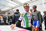 Italian Champion Elia Viviani (ITA) Deceuninck-Quick Step at sign on before Stage 5 of the 2019 Giro d'Italia, running 140km from Frascati to Terracina, Italy. 15th May 2019<br /> Picture: Massimo Paolone/LaPresse | Cyclefile<br /> <br /> All photos usage must carry mandatory copyright credit (© Cyclefile | Massimo Paolone/LaPresse)