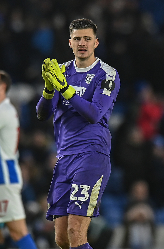 West Bromwich Albion's Jonathan Bond applauds the fans at the final whistle <br /> <br /> Photographer David Horton/CameraSport<br /> <br /> Emirates FA Cup Fourth Round - Brighton and Hove Albion v West Bromwich Albion - Saturday 26th January 2019 - The Amex Stadium - Brighton<br />  <br /> World Copyright © 2019 CameraSport. All rights reserved. 43 Linden Ave. Countesthorpe. Leicester. England. LE8 5PG - Tel: +44 (0) 116 277 4147 - admin@camerasport.com - www.camerasport.com