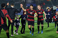 CARY, NC - DECEMBER 13: Logan Panchot #22 and Derek Waldeck #4 of Stanford University during a game between Stanford and Georgetown at Sahlen's Stadium at WakeMed Soccer Park on December 13, 2019 in Cary, North Carolina.