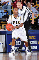 25 February 2010:  FIU's Stephon Weaver (2) handles the ball in the second half as the Middle Tennessee Blue Raiders defeated the FIU Golden Panthers, 74-71, at the U.S. Century Bank Arena in Miami, Florida.