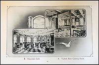 BNPS.co.uk (01202 558833)<br /> Pic: HAldridge/BNPS<br /> <br /> Extremely rare promotional brochure possibly for her launch of Olympic &amp; Titanic built at Harland &amp; Wolff, Belfast.<br /> <br /> Incredibly rare illustrations and photos of the opulent surroundings of the Titanic have come to light in two brochures which describe the doomed ship as 'practically unsinkable.'<br /> <br /> The colour drawings depict the plush accommodation and facilities that first and second class passengers enjoyed on the luxury liner.<br /> <br /> They offer rare glimpses of the promenade deck, reading room, swimming baths, smoking room, main staircase, the Turkish bath, state room and parlour suit accommodation, dining room and reception room.<br /> <br /> Alongside the images there is an equally scarce copy of the sailing schedule for the doomed ship, highlighting its 'lost' trans-Atlantic service.<br /> <br /> The itinerary shows the Titanic would have gone on to make four trips from Southampton to New York between April to July 1912 had it not sunk on its maiden voyage with the loss of 1,522 lives.<br /> <br /> The two brochures and sailing schedule have now been put up for sale 105 years after the tragedy. They have a pre-sale estimate of a combined &pound;20,000.