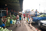 Brazil, Manaus, watermelons being being unloaded out of a truck to sell at the Manaus market