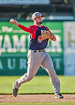 29 June 2014:  Lowell Spinners third baseman Jordan Betts in action against the Vermont Lake Monsters at Centennial Field in Burlington, Vermont. The Spinners defeated the Lake Monsters 7-5 in NY Penn League action. Mandatory Credit: Ed Wolfstein Photo *** RAW Image File Available ****