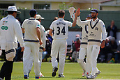 June 11th 2017, Trafalgar Road Ground, Southport, England; Specsavers County Championship Division One; Day Three; Lancashire versus Middlesex; Middlesex celebrate the breakthrough they needed after Ryan McLaren of Lancashire is bowled by Tim Murtagh for 75
