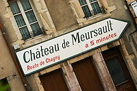 road sign ch de meursault beaune cote de beaune burgundy france