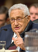 "Dr. Henry A. Kissinger, Chairman of Kissinger Associates and former United States Secretary of State (under President Richard M. Nixon and President Gerald R. Ford) gives testimony before the United States Senate Committee on Armed Services concerning ""Global Challenges and the U.S. National Security Strategy"" in Washington, D.C. on Thursday, January 29, 2015.<br /> Credit: Ron Sachs / CNP"