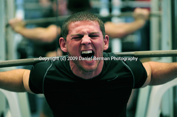 Dan Zeller screams as he squat lifts 385 pounds during the WWU Strongman Club weightlifting competition Saturday November 21, 2009  at the Wade King Recreational Center. The competition featured squat, bench press, and deadlifts. Photo by Daniel Berman/www.bermanphotos.com