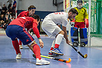 Mannheim, Germany, January 08: During the 1. Bundesliga men indoor hockey match between TSV Mannheim and Mannheimer HC on January 8, 2020 at Primus-Valor Arena in Mannheim, Germany. Final score 5-4. (Photo by Dirk Markgraf / www.265-images.com) *** Fabio Bernhardt #15 of TSV Mannheim, Patrick Harris #17 of Mannheimer HC