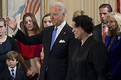United States Vice President Joe Biden stands alongside US Supreme Court Justice Sonia Sotomayor after taking the oath of office during the 57th Presidential Inauguration official swearing-in ceremony at the Naval Observatory on January 20, 2013 in Washington, DC..Credit: Saul Loeb / Pool via CNP