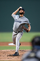 Starting pitcher Jake Bird (33) of the Asheville Tourists delivers a pitch in a game against the Greenville Drive on Friday, August 23, 2019, at Fluor Field at the West End in Greenville, South Carolina. Greenville won, 11-1. (Tom Priddy/Four Seam Images)