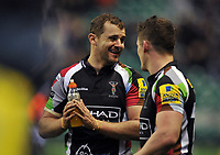 Nick Evans is all smiles after the match. Big Game 5 Aviva Premiership match, between Harlequins and London Irish on December 29, 2012 at Twickenham Stadium in London, England. Photo by: Patrick Khachfe / Onside Images