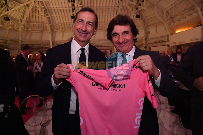 Mayor of Milan, Giuseppe Sala, and RCS MediaGroup Chairman and CEO Urbano Cairo at the 100th edition Giro d`Italia 2017 route presentation held at the Ice Palace in Milan, 25th October 2016.<br /> Picture: ANSA/Luca Zennaro | Newsfile<br /> <br /> <br /> All photos usage must carry mandatory copyright credit (&copy; Newsfile | ANSA/Luca Zennaro)