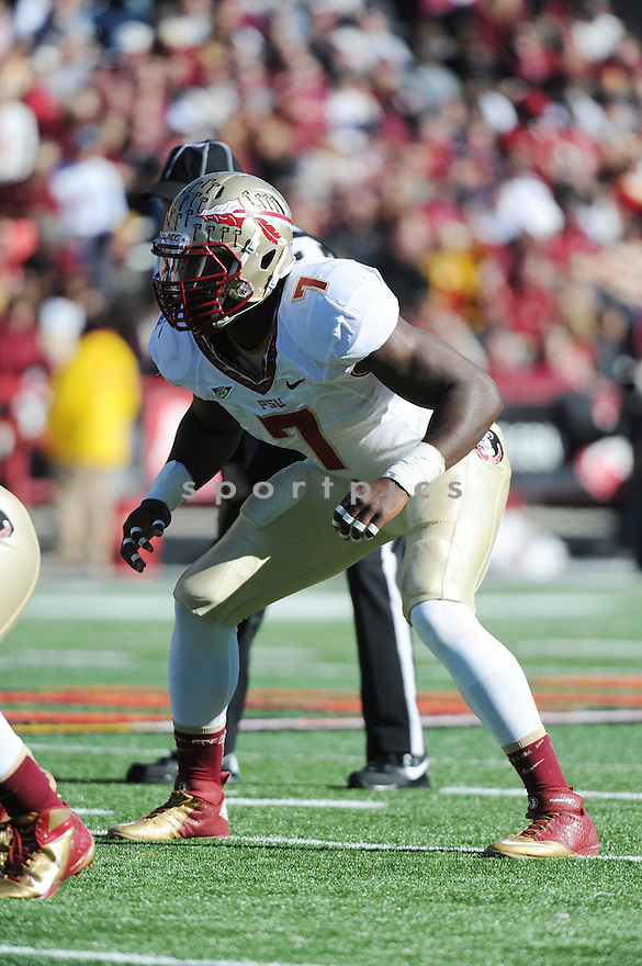 Florida State Seminoles linebacker Christian Jones (7) during game against University of Maryland Terrapins played at Capital One Field At Byrd Stadium on Saturday, November 17, 2012 in College Park, MD. Florida State defeated Maryland 41-14. (Tomasso Derosa)