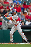 Houston Cougars catcher Caleb Barker #27 at bat during the NCAA baseball game against the Texas Longhorns on March 1, 2014 during the Houston College Classic at Minute Maid Park in Houston, Texas. The Longhorns defeated the Cougars 3-2. (Andrew Woolley/Four Seam Images)