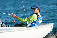 Salve's Brian Baker,'18, captain,  practices with other members of the Salve Regina Sailing Team.