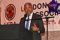 John Conteh speaks after receiving the Guest of Honour trophy during the London Ex-Boxers Association Awards Lunch at the Grand Connaught Rooms on 16th February 2020