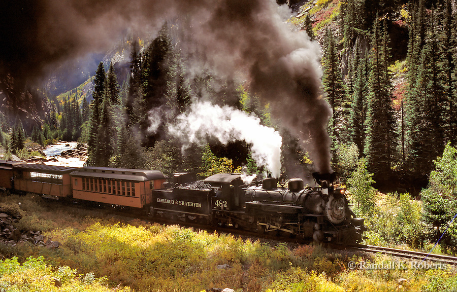 Durango & Silverton Narrow Gauge Railroad lumbers through the San Juan Mountains of Southwest Colorado.