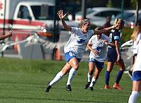 Kansas City, MO - Sunday August 28, 2016: Kathryn Schoepfer celebrates scoring during a regular season National Women's Soccer League (NWSL) match between FC Kansas City and the Boston Breakers at Swope Soccer Village.