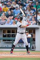 Danny Ortiz (3) of the Indianapolis Indians at bat against the Charlotte Knights at BB&T BallPark on June 17, 2016 in Charlotte, North Carolina.  The Knights defeated the Indians 4-0.  (Brian Westerholt/Four Seam Images)