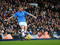 2nd November 2019; Etihad Stadium, Manchester, Lancashire, England; English Premier League Football, Manchester City versus Southampton; Kevin De Bruyne of Manchester City crosses the ball into the Southampton penalty area - Strictly Editorial Use Only. No use with unauthorized audio, video, data, fixture lists, club/league logos or 'live' services. Online in-match use limited to 120 images, no video emulation. No use in betting, games or single club/league/player publications