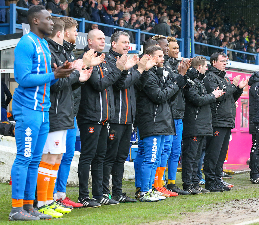 The Blackpool bench and staff applaud the late Jimmy Armfield before the match<br /> <br /> Photographer Alex Dodd/CameraSport<br /> <br /> The EFL Sky Bet League One - Bury v Blackpool - Saturday 3rd February 2018 - Gigg Lane - Bury<br /> <br /> World Copyright &copy; 2018 CameraSport. All rights reserved. 43 Linden Ave. Countesthorpe. Leicester. England. LE8 5PG - Tel: +44 (0) 116 277 4147 - admin@camerasport.com - www.camerasport.com