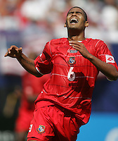July 24, 2005: East Rutherford, NJ, USA: Panama's Gabriel Gomez (6) moans in frustration after missing a shot against the US  during the CONCACAF Gold Cup Finals at Giants Stadium.
