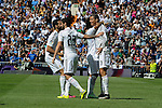 Real Madrid´s Cristiano Ronaldo, Marcelo Vieira and Isco celebrates a goal during 2014-15 La Liga match between Real Madrid and Eibar at Santiago Bernabeu stadium in Madrid, Spain. April 11, 2015. (ALTERPHOTOS/Luis Fernandez)