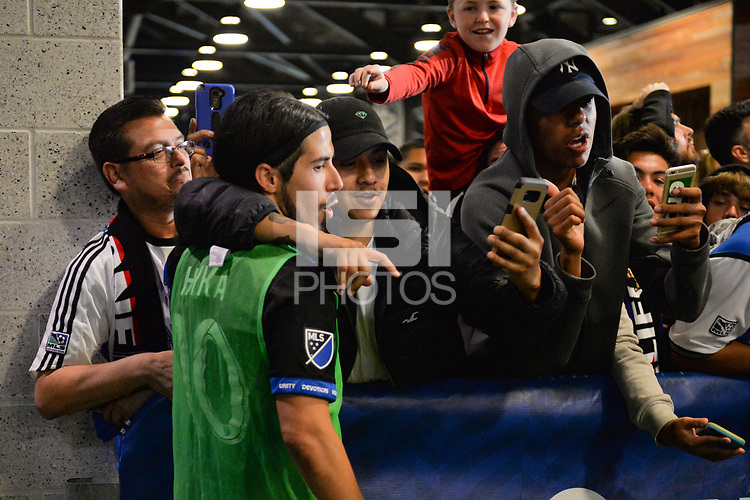 San Jose, CA - Monday July 10, 2017: Jahmir Hyka, fans after a U.S. Open Cup quarterfinal match between the San Jose Earthquakes and the Los Angeles Galaxy at Avaya Stadium.