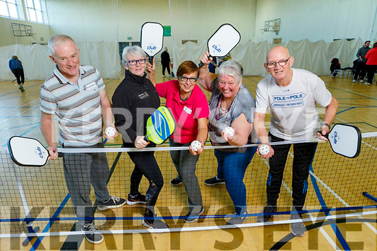 Pickleball the new exercise craze that is taking the county by storm, pictured in John Mitchel's GAA Complex on Monday.<br /> L to r: Bernard Fitzgerald (Castlegregory), Debbie Quirke (Program Facilitator for Kerry Recreational Sports Partnership), Sheila Barclay (Killarney), Helen Ashton (Killarney) and John Joe O'Connor (Castlegregory).