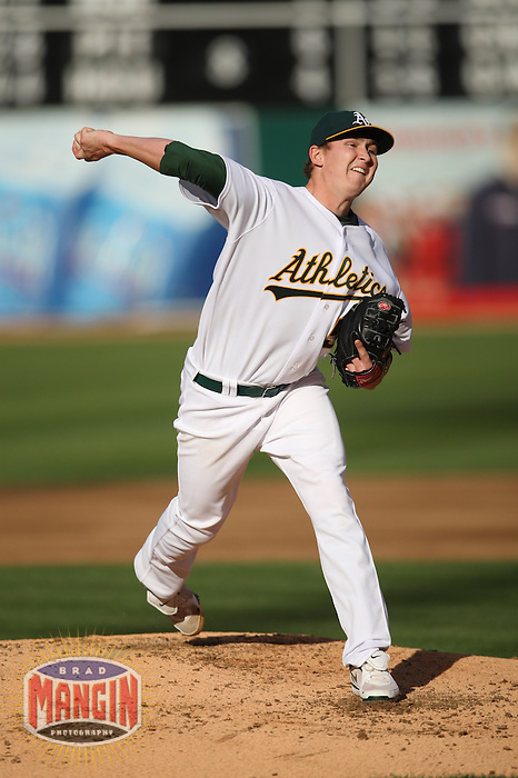 OAKLAND, CA - JUNE 6:  Trevor Cahill #53 of the Oakland Athletics pitches during the game against the Baltimore Orioles at the Oakland-Alameda County Coliseum on June 6, 2009 in Oakland, California. Photo by Brad Mangin