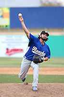 Joe Broussard (21) of the Rancho Cucamonga Quakes pitches against the High Desert Mavericks at Heritage Field on May 8, 2016 in Adelanto, California. Rancho Cucamonga defeated High Desert, 11-5. (Larry Goren/Four Seam Images)