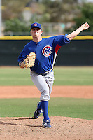 Casey Harman of the Chicago Cubs plays in a minor league spring training game against the Los Angeles Angels at the Angels complex on April 2, 2011  in Tempe, Arizona. .Photo by:  Bill Mitchell/Four Seam Images.