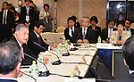 November 29, 2016, Tokyo, Japan - President Yoshiro Mori, left, of the Tokyo Organizing Committee of the Olympic and Paralympic Games speaks during a four-party meeting to review costs and venues for the 2020 Tokyo Olympics and Paralympics at a Tokyo hotel on Tuesday, November 29, 2016. The four top-level representatives of the International Olympic Committee, 2020 Games organizers, the Tokyo Metropolitan and Japanese governments discussed details regarding the venues for rowing/canoe and volleyball based on proposals by the metropolitan government.  (Photo by Natsuki Sakai/AFLO) AYF -mis-