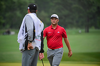 Jon Rahm (ESP) after sinking his putt on 3 during round 4 of the Shell Houston Open, Golf Club of Houston, Houston, Texas, USA. 4/2/2017.<br /> Picture: Golffile | Ken Murray<br /> <br /> <br /> All photo usage must carry mandatory copyright credit (&copy; Golffile | Ken Murray)