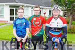 Evan and Nathan Horgan and Tim O'Connor at the Castleisland Day Care centre cycle on Sunday