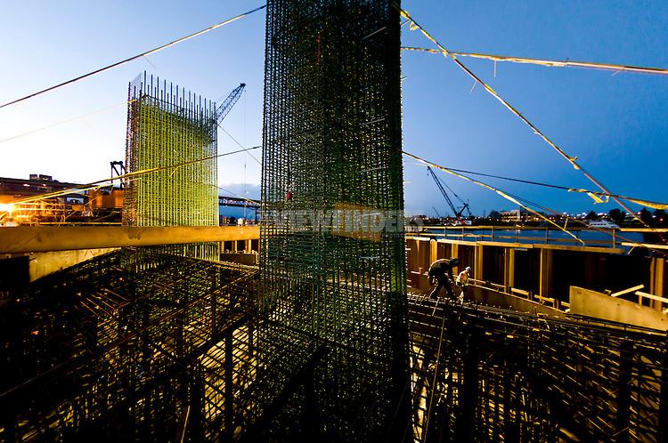Rebar cages and platform before large concrete pour at Trimet's Portland-Milwaukie Light Rail Bridge.