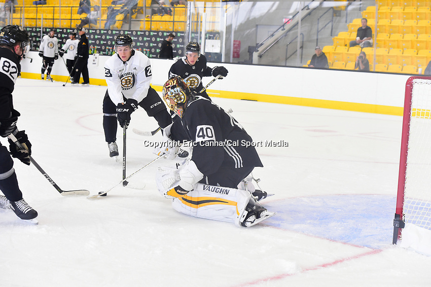 September 15, 2017: Boston Bruins goalie Tuukka Rask (40) makes a save during the Boston Bruins training camp held at Warrior Ice Arena in Brighton, Massachusetts. Eric Canha/CSM