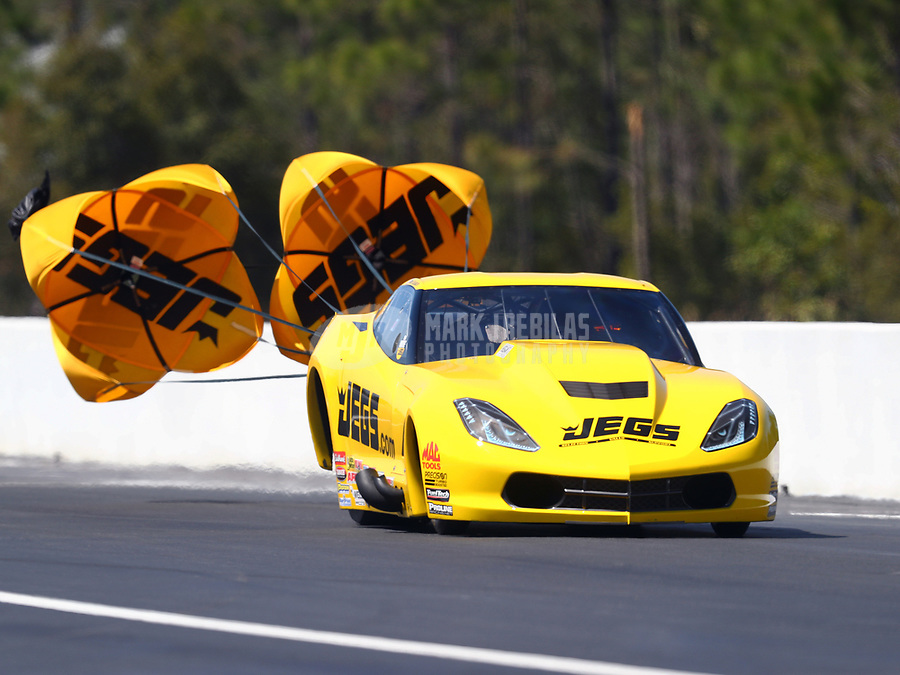 Mar 17, 2017; Gainesville , FL, USA; NHRA pro mod driver Troy Coughlin during qualifying for the Gatornationals at Gainesville Raceway. Mandatory Credit: Mark J. Rebilas-USA TODAY Sports