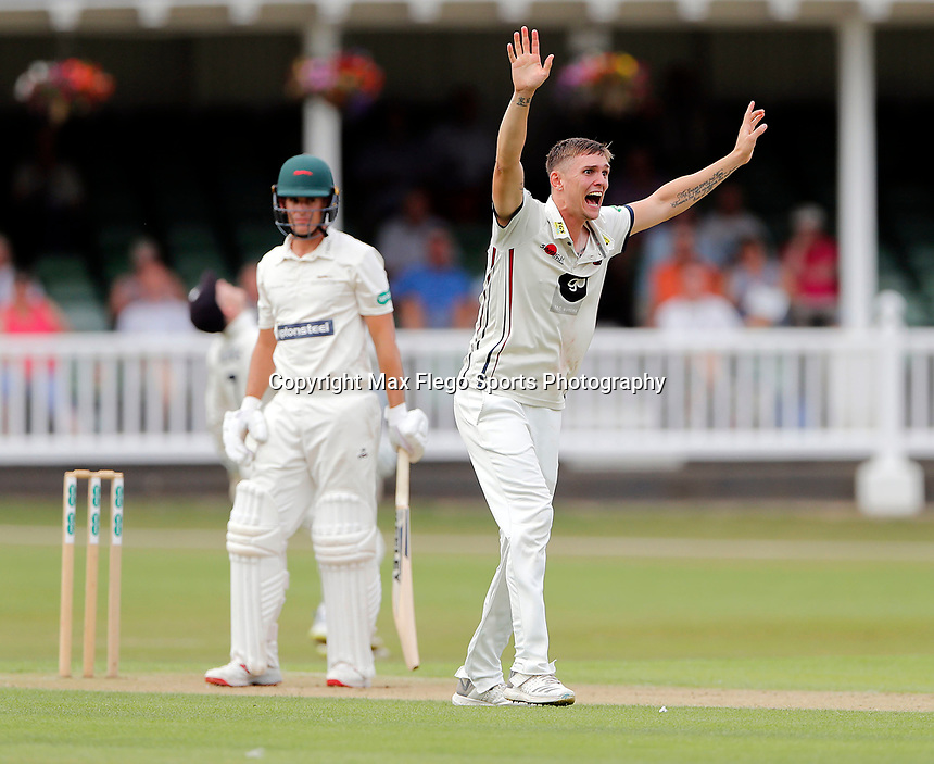 Harry Podmore appeals for Kent during the County Championship Division 2 game between Kent and Leicestershire at the St Lawrence ground, Canterbury, on Sun July 22, 2018