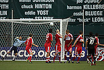 13 June 2009: DC's Christian Gomez (10) scores a free kick game-winning goal over a Chicago wall and past goalkeeper Jon Busch (left). DC United defeated the Chicago Fire 2-1 at RFK Stadium in Washington, DC in a regular season Major League Soccer game.