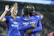 31st October 2017, Cardiff City Stadium, Cardiff, Wales; EFL Championship football, Cardiff City versus Ipswich Town; Sol Bamba and Junior Hoilett of Cardiff City celebrate their sides 1st goal making it 1-0
