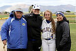 Samantha Bell with coaches at the Sophomore Day celebration after the first game of the Western Nevada College softball doubleheader on Saturday, April 30, 2016 at Pete Livermore Sports Complex. Photo by Shannon Litz/Nevada Photo Source